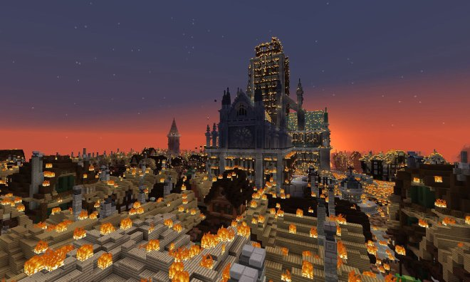 St Paul's and the City of London on fire - actual game footage.